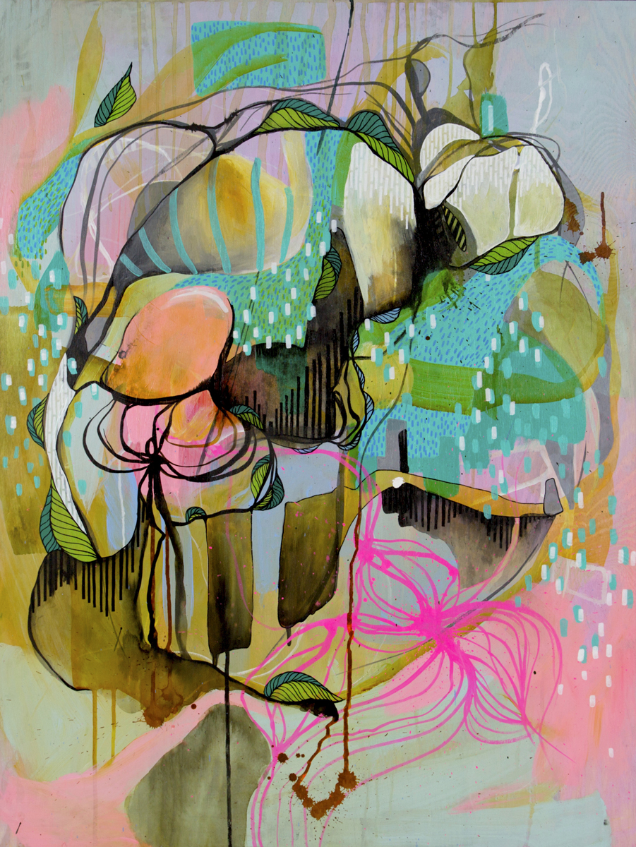 Bubble 60x80cm acrylic,ink on wood_Julia Benz 2015 WEB